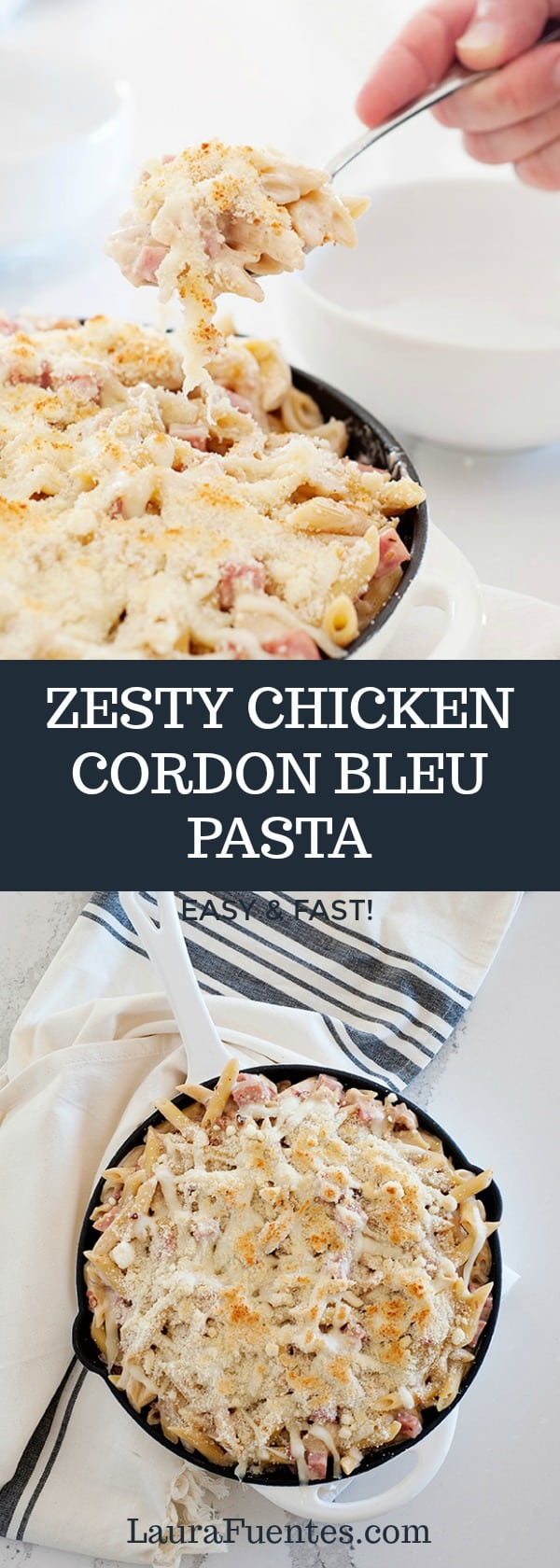 Easy Zesty Chicken Cordon Bleu Pasta that has a little added kick everyone will love.