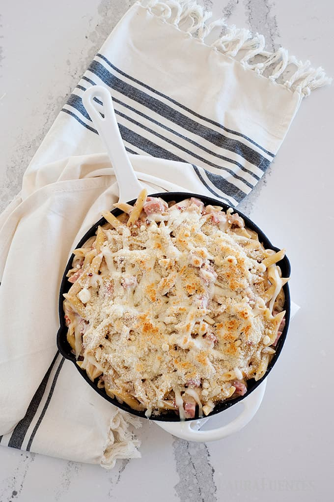 Easy Chicken Cordon Bleu Pasta au gratin