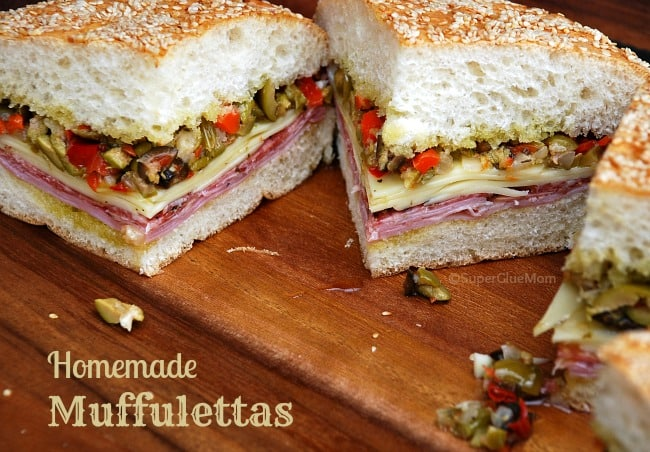 image: slices of muffuletta sandwich. Image text reads: homemade muffulettas