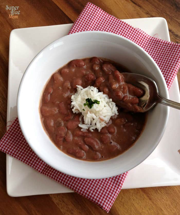 New Orleans Red Beans and Rice Recipe with Crockpot Option SuperGlueMom.com