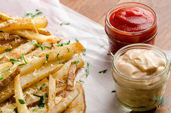 delicious homemade truck fries that are crispy, zesty, and baked! serve with ketchup or magic sauce!
