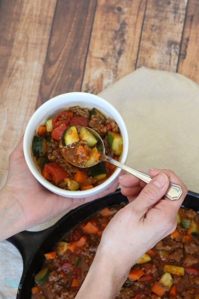 this paleo chili recipe is all meat, lots of veggies, full of flavor! grab a bowl - or two