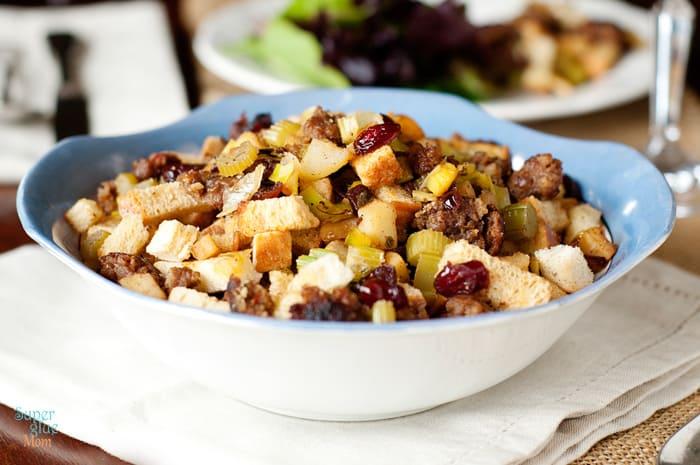 Original Apple Cranberry and Sausage Stuffing Recipe with Grain Free Option via SuperGlueMom.com