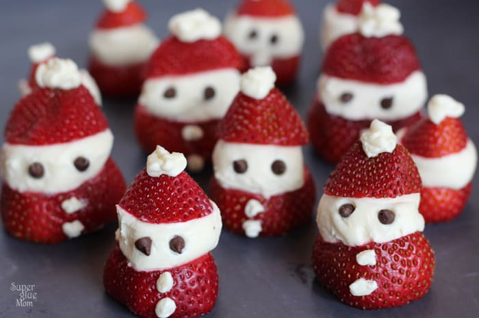 strawberry cheesecake santas that are delicious and a fun food-craft with kids!