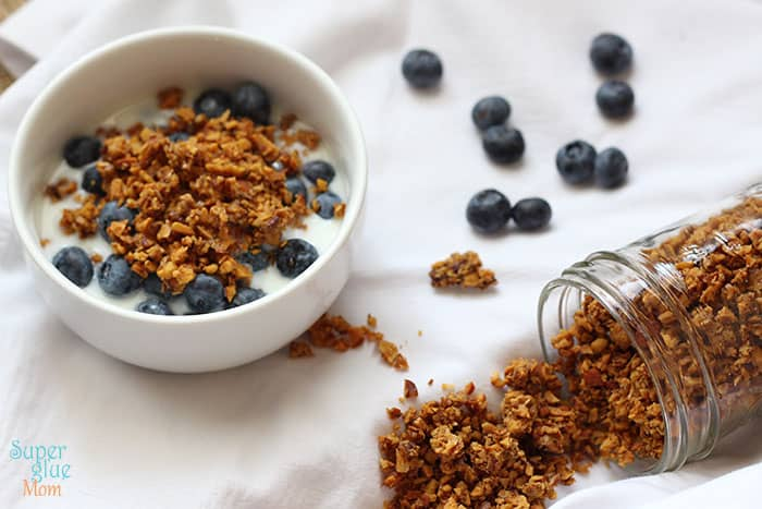 Cereal Clusters Recipe - bowl with blueberries - Paleo Grain Free vanilla granola