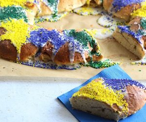 gluten free king cake recipe that is super easy to make and will bring back the joy of mardi gras to your guests!