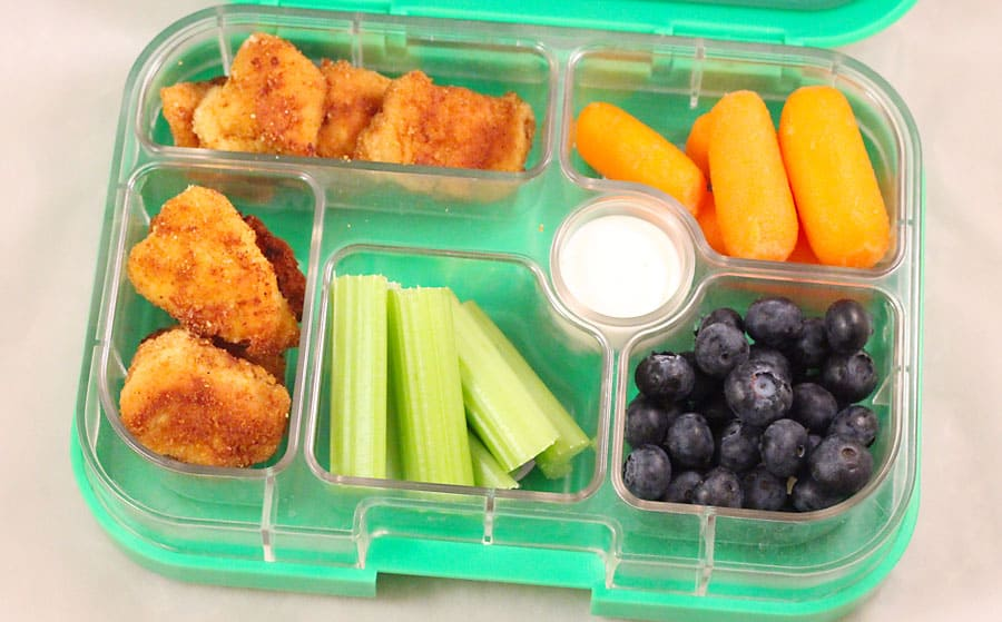 copycat chick fil a chicken nuggets for school lunch packed inside a @yumbox.