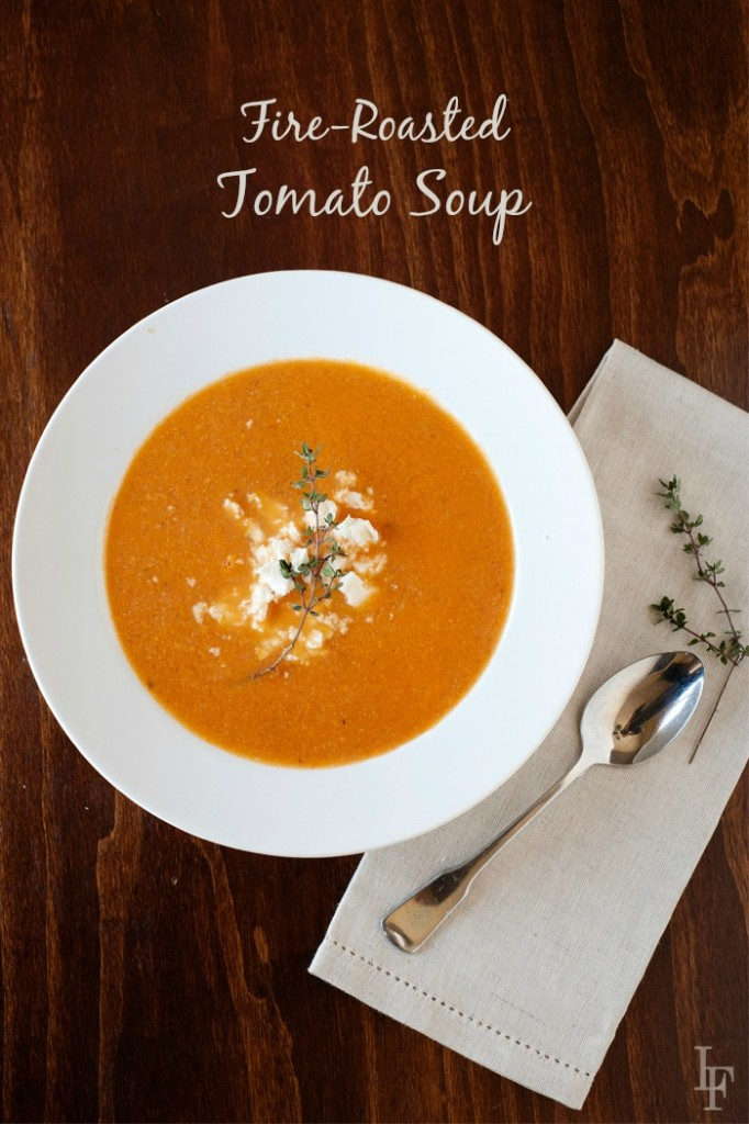 "image: a white bowl of tomato soup. Image text reads - ""fire roasted tomato soup"""