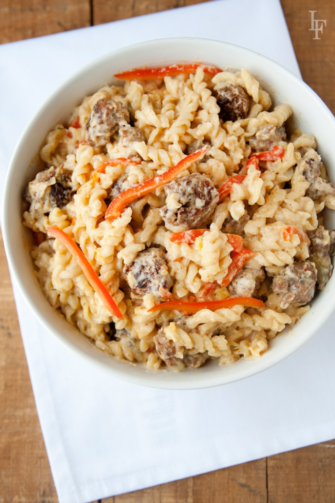 Creole Alfredo - Sausage & Red Pepper bowl of goodness. Can be made gluten free and grain free