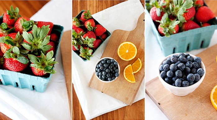 image collage of various fruits like strawberries, small bowl of blueberries and sliced oranges.