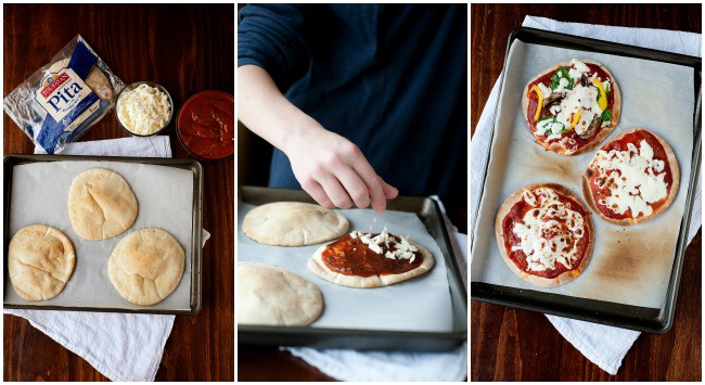 making pita pizzas is easy and you can use any toppings you like! they are perfect for school lunch or a quick dinner