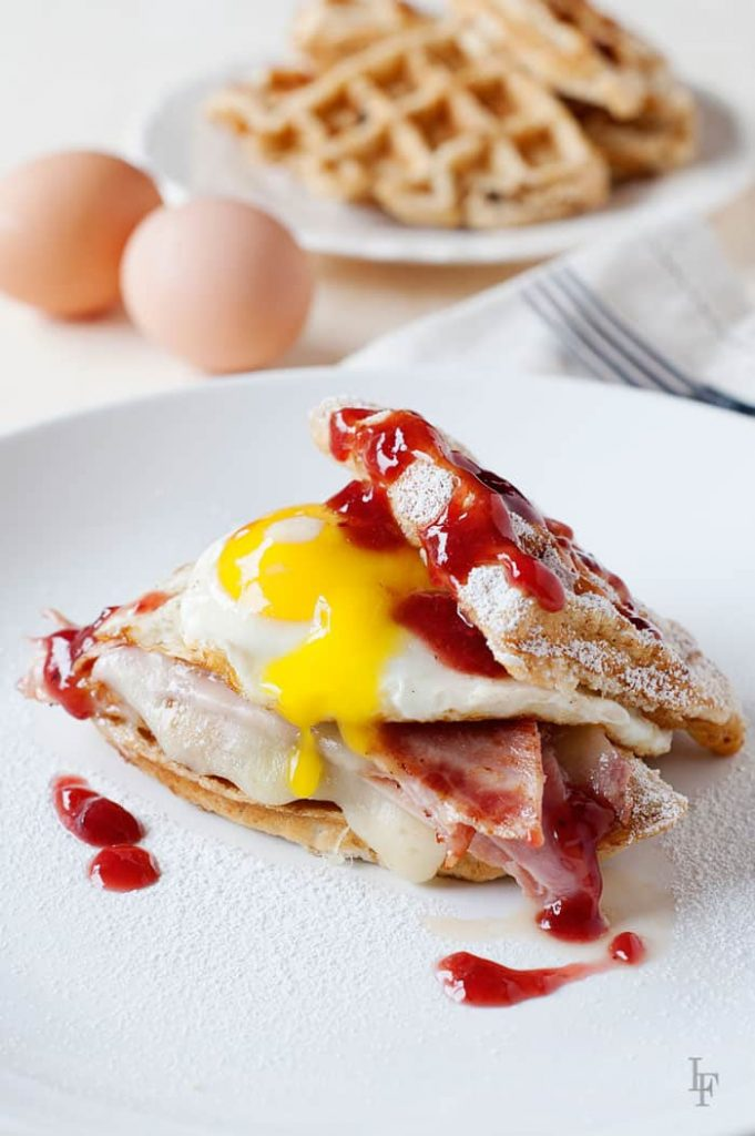 Food Network's Rewrapped Waffle Monte Cristo Sandwich - holy egg! you've got to try one! you'll be hooked!