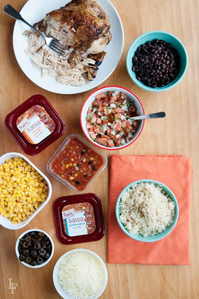setting up a Chipotle burrito bowl bar is easy! set it up and let your family assemble their own!