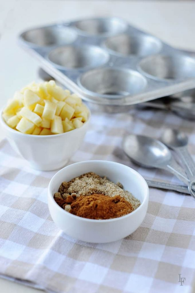 apples, cinnamon, brown sugar ingredients for baked gluten free and classic apple fritter muffins