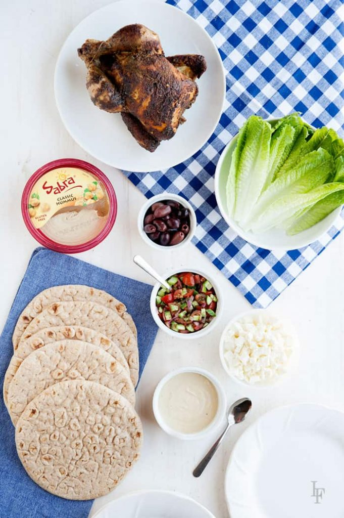 fresh and simple ingredients for this chicken flatbread bar for an easy family dinner!