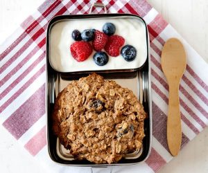 oatmeal breakfast cookie with yogurt and fresh berries from The Best Homemade Kids Lunches on the Planet