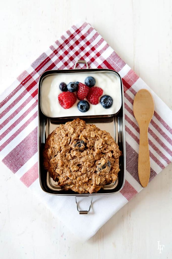 oatmeal breakfast cookie with fresh yogurt and berries from The Best Homemade Kids Lunches on the Planet http://bit.ly/homemadelunchamazon