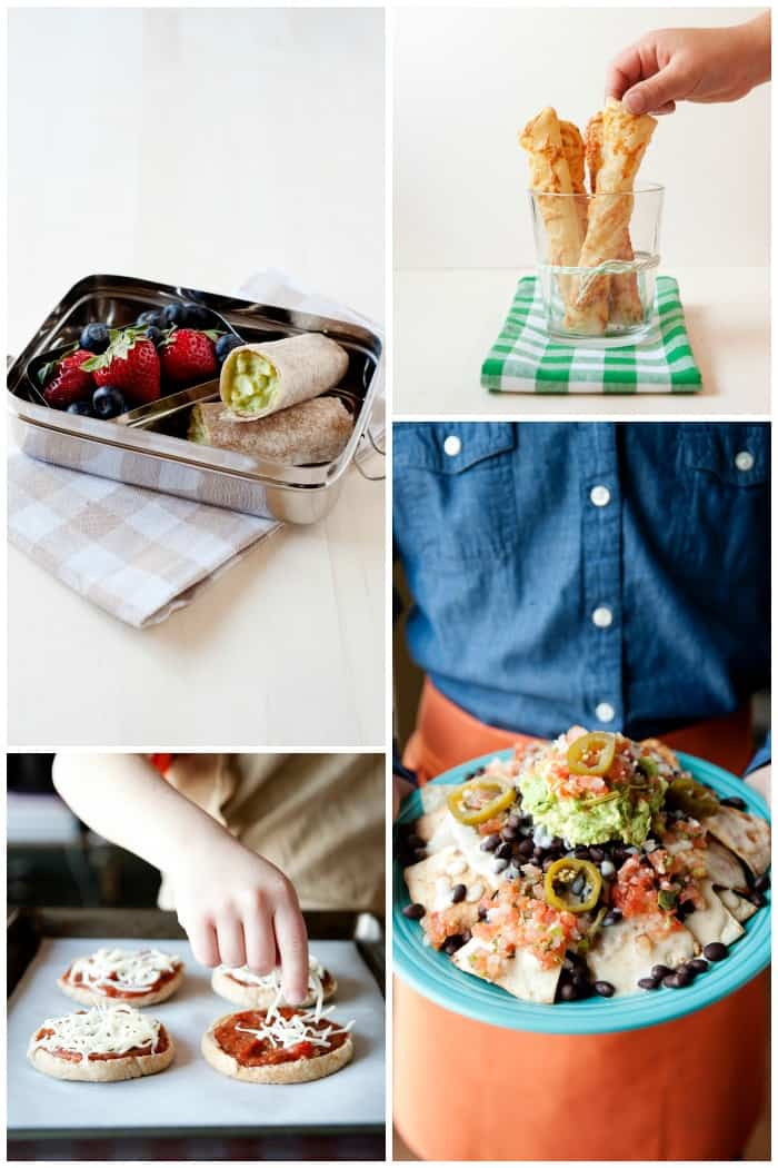 big snacks or mini meal recipes like egg and avocado wraps, english muffin pizzas, flaky cheese twists, and ultimate nachos