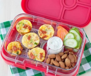 easy to make grain free, gluten free, school lunch idea: mini pizza quiches