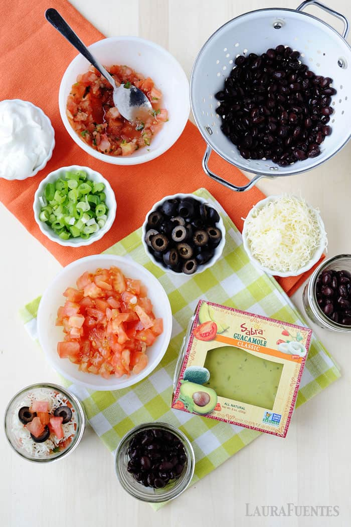 simple ingredients make this Mexican 7 Layer Dip Cups!
