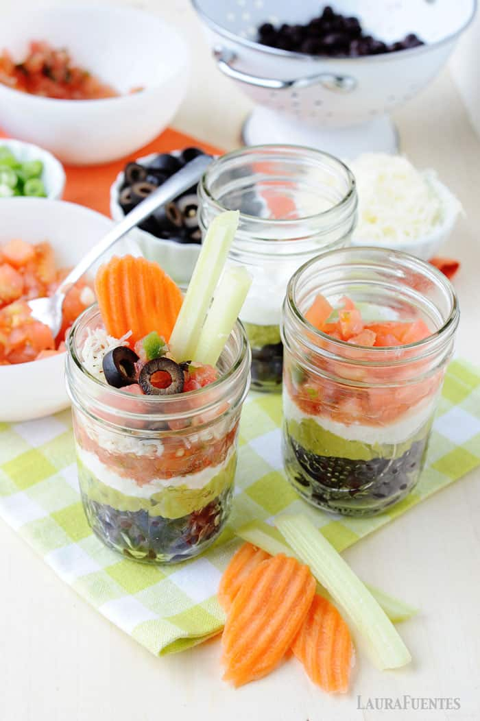 fresh and healthy 7 layer mexican dip cups easy snack and school lunch idea!