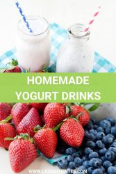 Image: yogurt drinks in glasses with straws and fruit