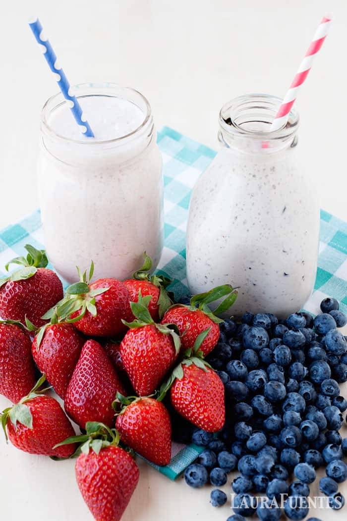 these homemade yogurt drinks can be made with any fruit! You can use fresh or frozen fruit to make this healthy snack idea!