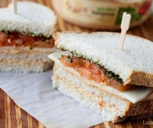 delicious veggie club sandwich with hummus & pesto
