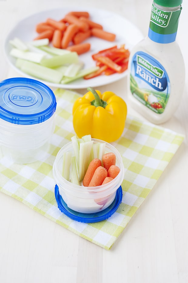 these ranch veggie cups can be made ahead of time and they are a portable healthy snack idea!