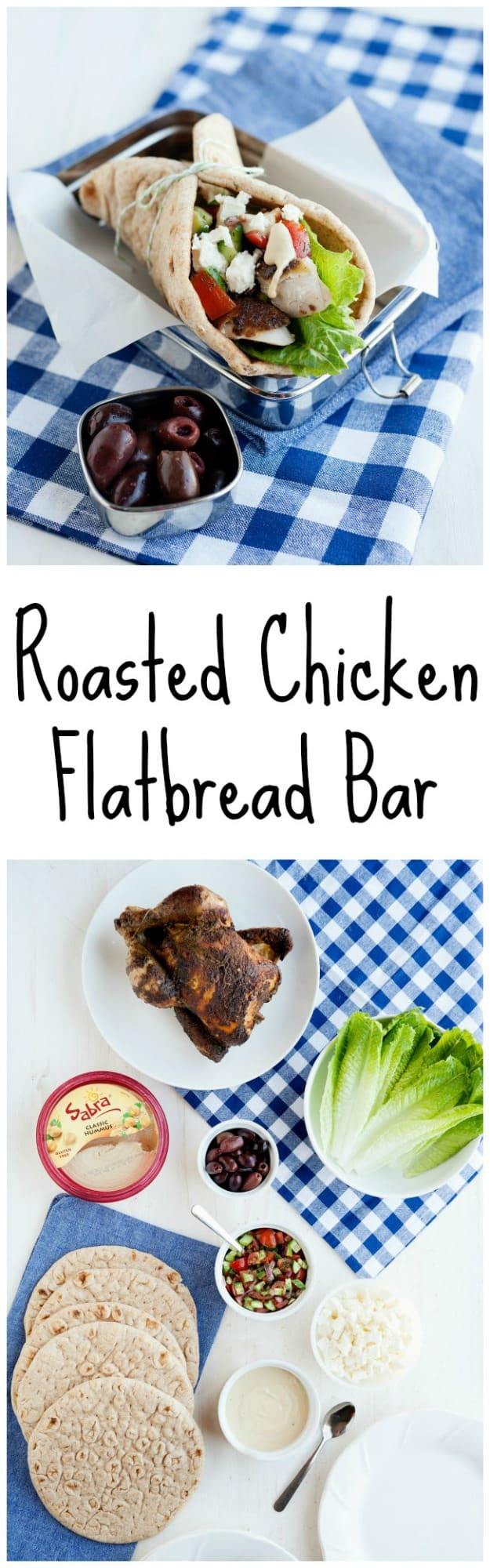 This roasted chicken flatbread recipe is perfect for easy entertaining. It has all the Mediterranean flavors and a bonus hummus dressing recipe.