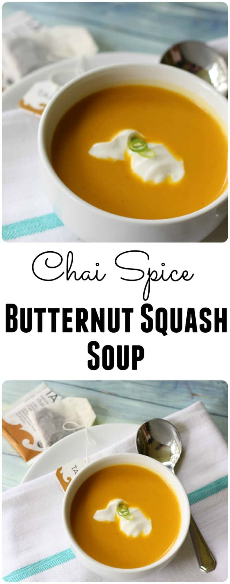 This Chai Spice Butternut Squash Soup Recipe is easy to make, delicious and full of warm toned flavors.