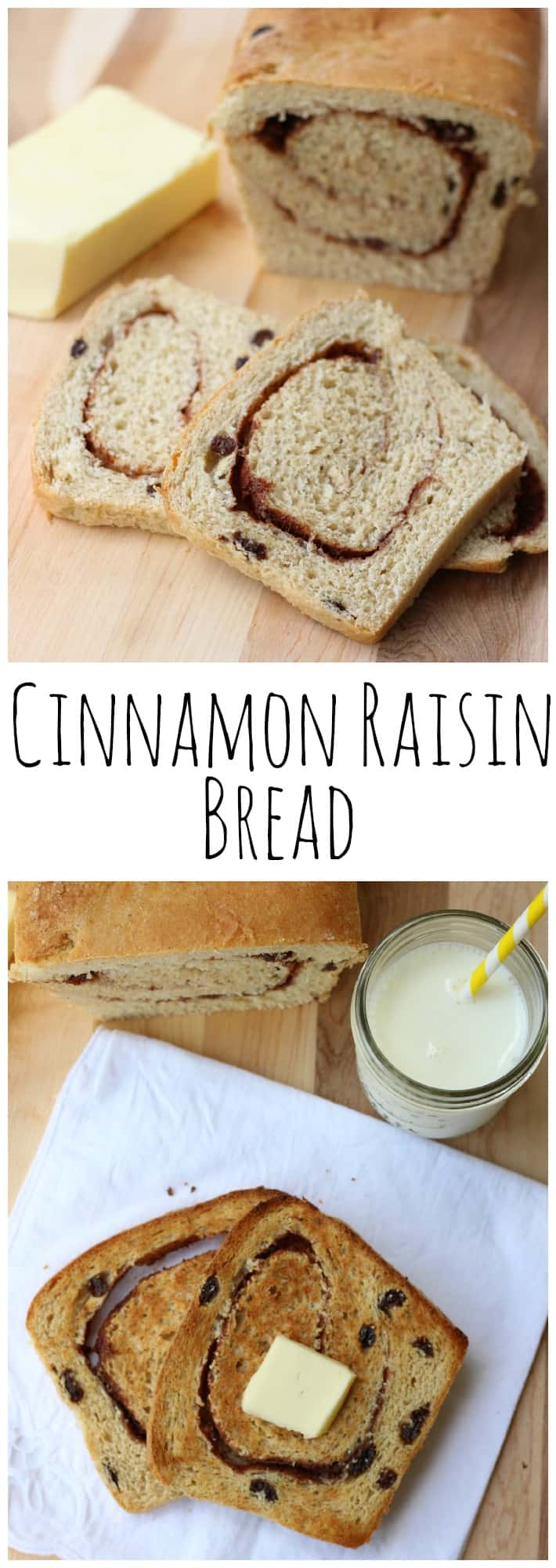 Looking for an Easy Homemade Cinnamon Raisin Bread Recipe? This one yields 3 loaves, perfect to make all at once and freeze for later!