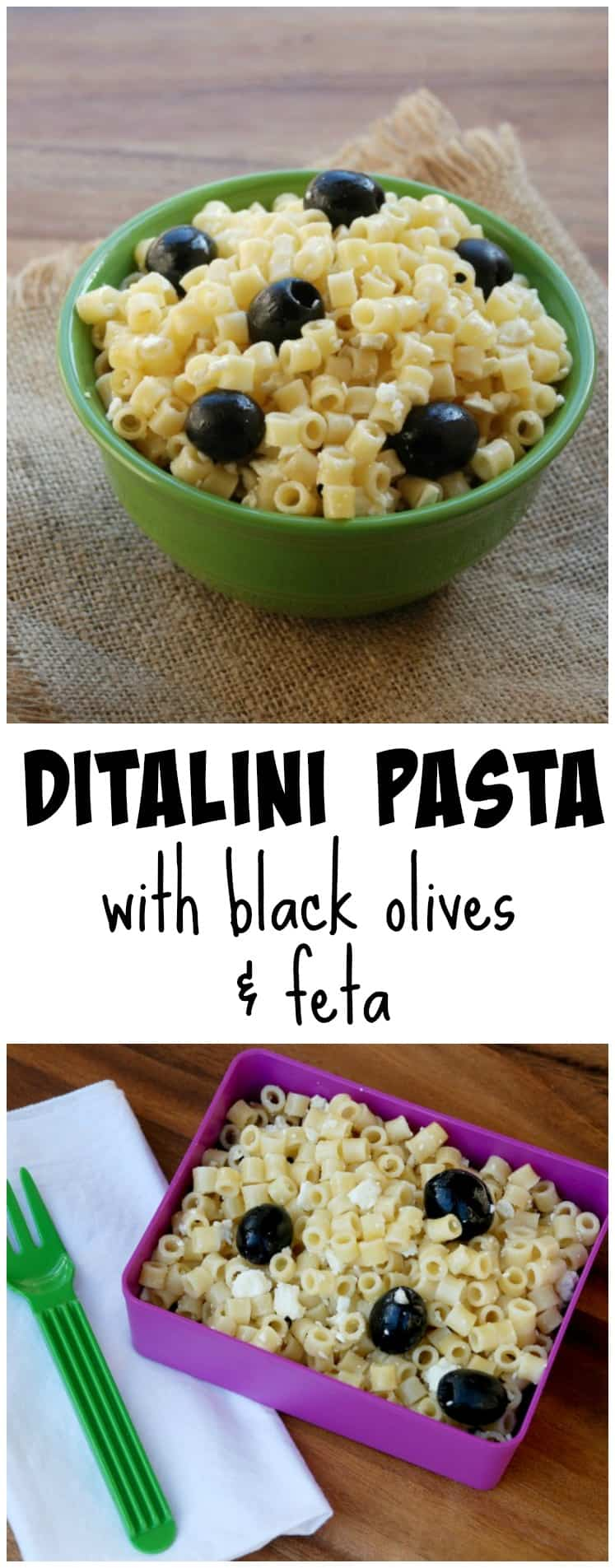 This ditalini pasta with black olives and feta is a family favorite! Plus, you can have dinner together in 15 minutes!
