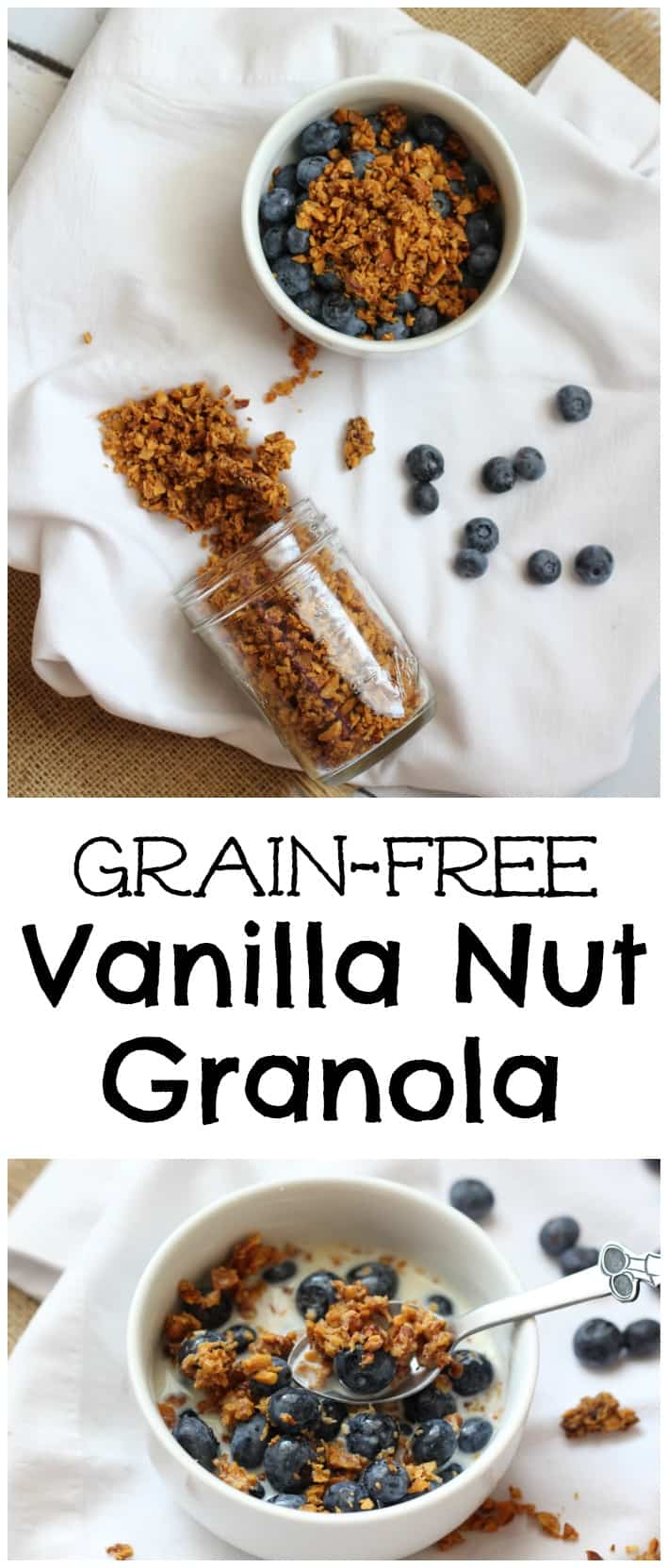 I developed this cereal clusters recipe for my son who needs a grain free, gluten free version. We love this vanilla nut granola!