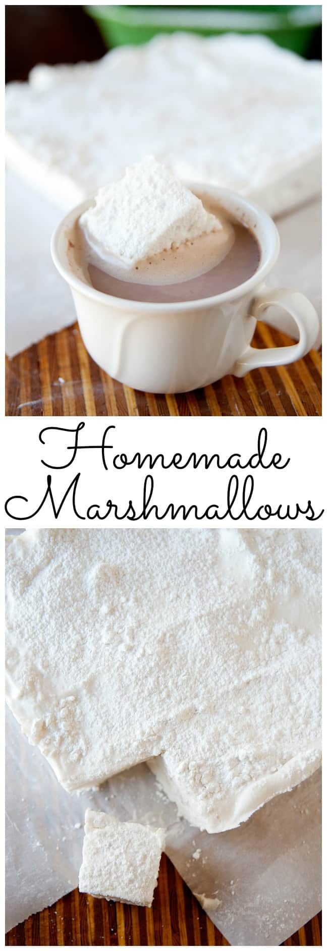Homemade Marshmallows (no corn syrup!) from LauraFuentes.com