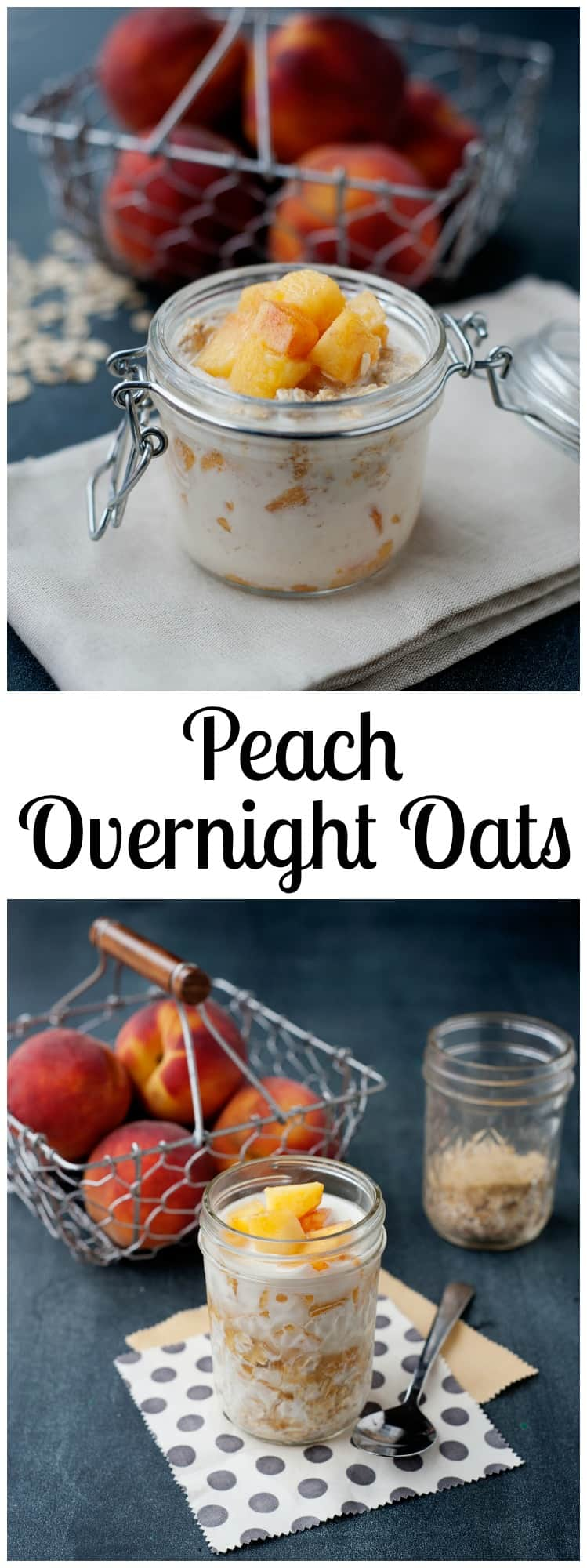 This peaches and cream overnight oats recipe is easy to make, delicious, and uses real ingredients!