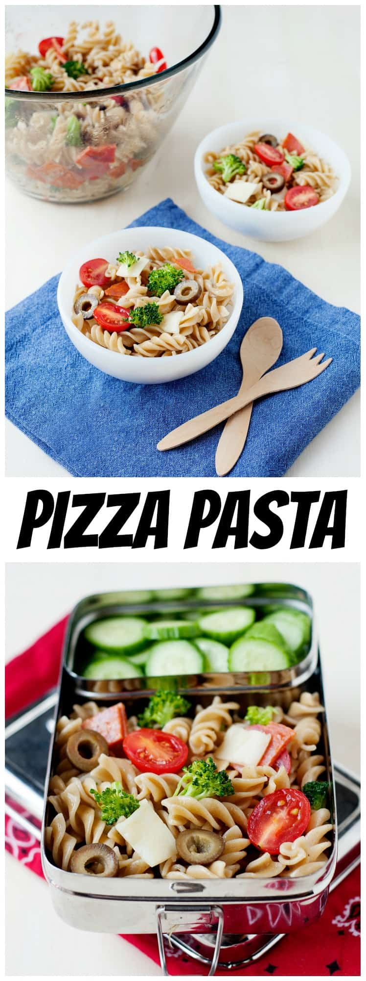 Add a little variety to your kids' lunchboxes with this easy pizza pasta salad recipe!
