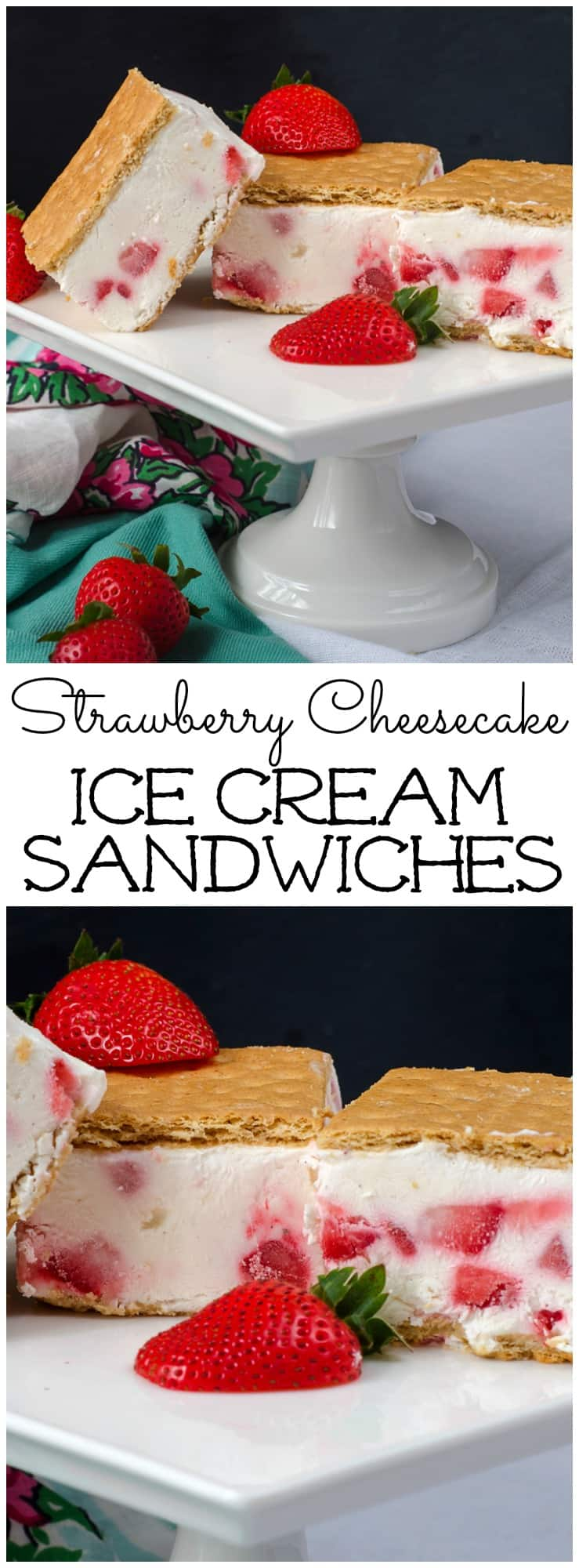These Strawberry Cheesecake Ice Cream Sandwiches are made with Greek yogurt and fresh strawberries! They are easy to make and everyone will love them!