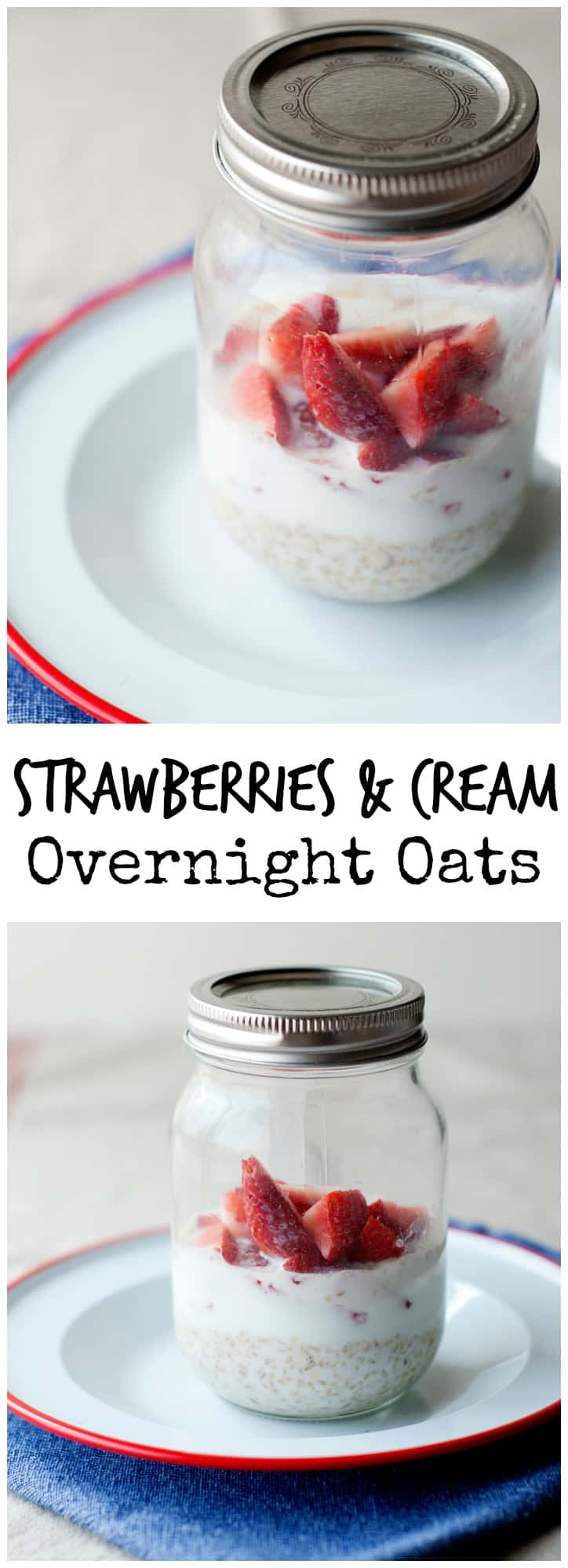 This easy strawberries and cream overnight oats recipe is so delicious you'll want to have them for desert too!