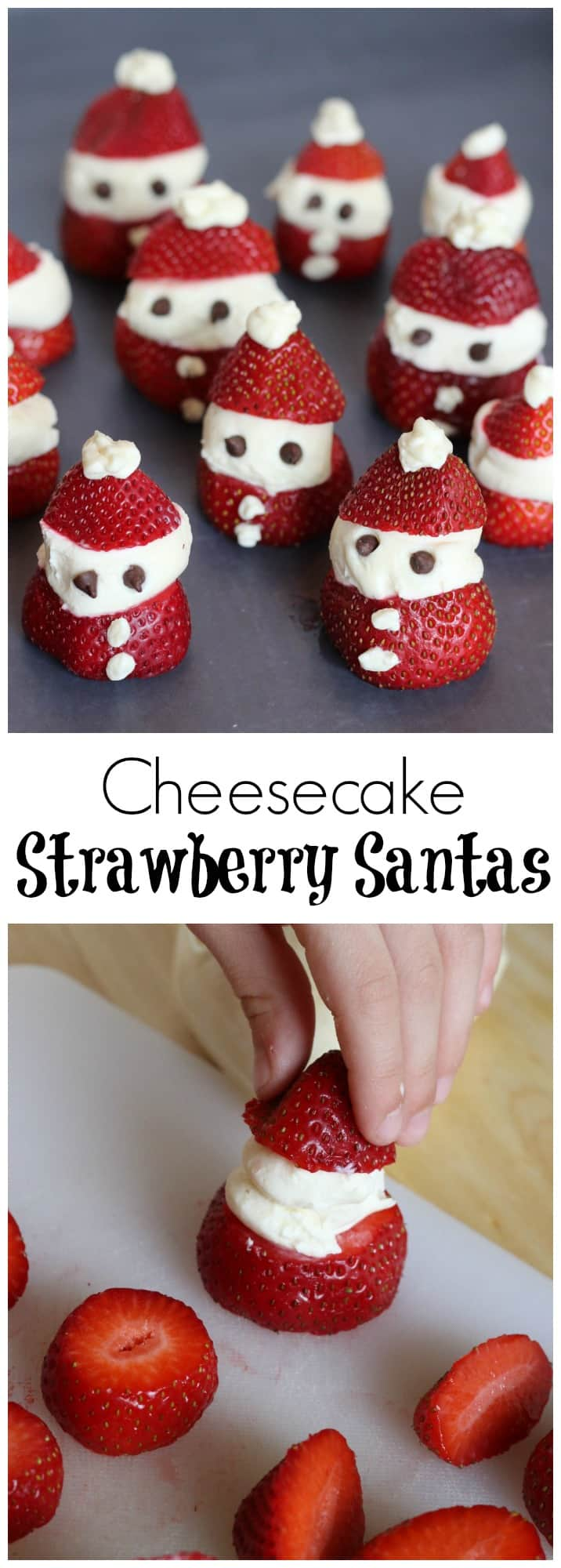 Want an easy kitchen craft to do with your kids? Everyone is going to love these Cheesecake stuffed Strawberry Santas!