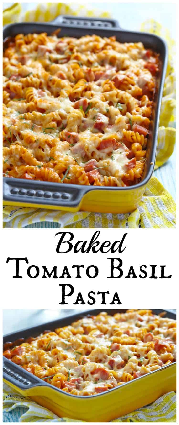 This tomato basil baked pasta recipe is one everyone in your family will love! Creamy, cheesy, and with all the traditional flavors under 30 minutes.