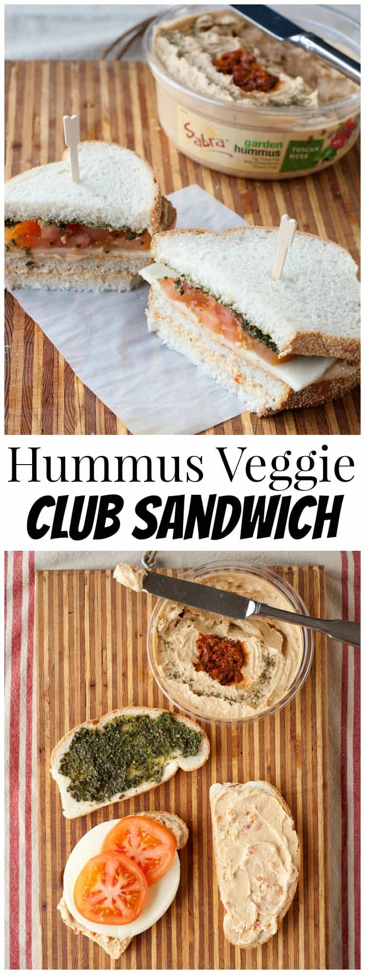 Tired of the same old sandwich? This hummus veggie club sandwich will become a delicious staple in your lunch rotation!
