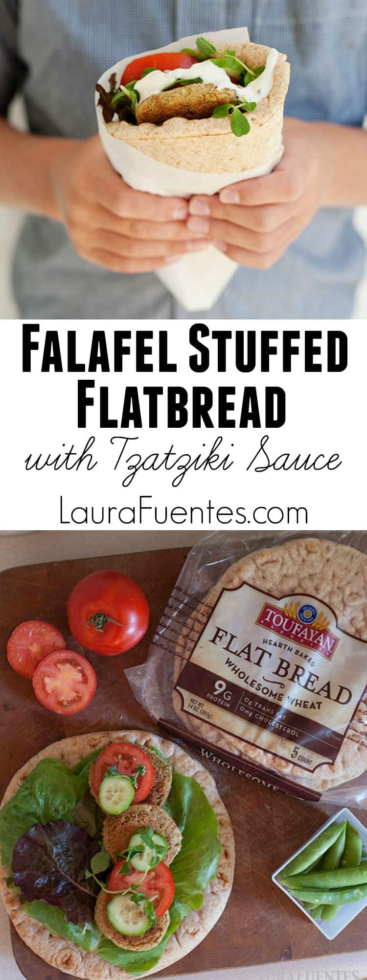 Love healthy Mediterranean food? Check out this recipe for Falafel Stuffed Flatbread with Tzatziki Sauce.