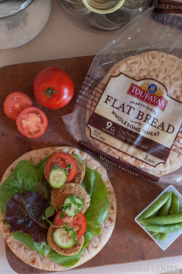 ingredients to build falafel stuffed flatbreads
