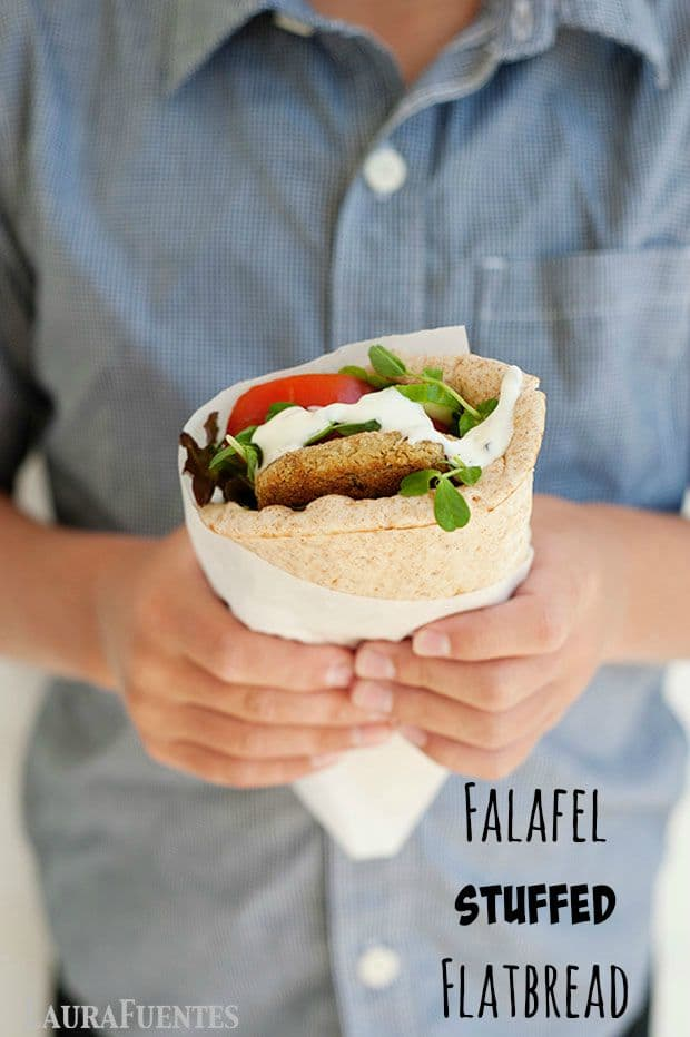 Falafel stuffed flatbread with Greek tzatziki sauce