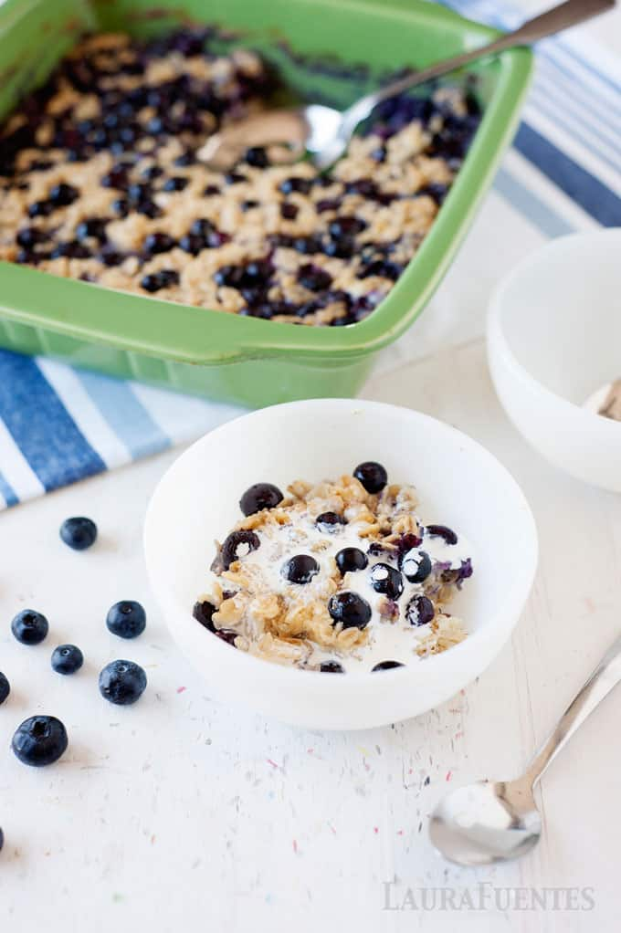 This Blueberry Baked Oatmeal is a delicious healthy breakfast that can be made ahead of time and reheats great!