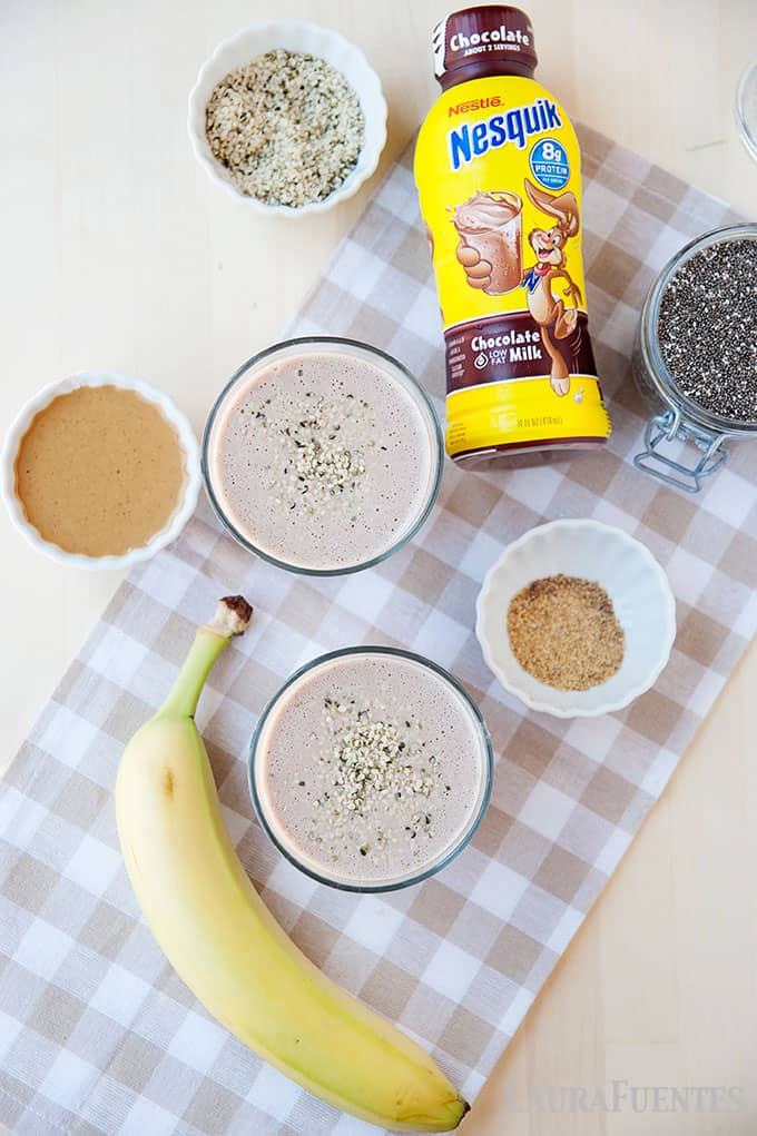post workout chocolate shake with flax, chia, and hemp seeds - ingredients