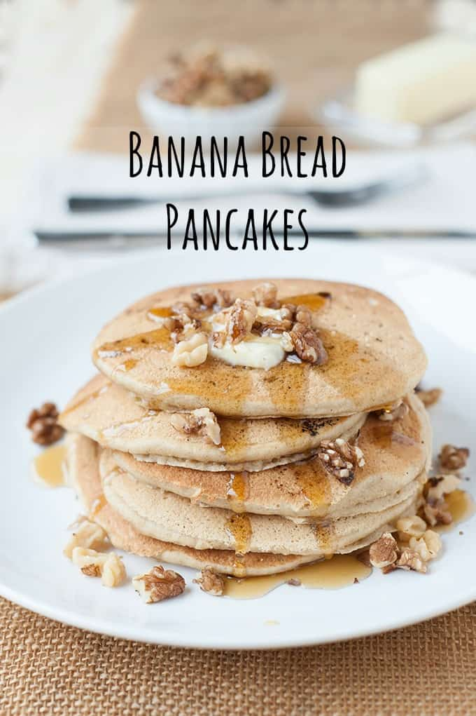 banana bread pancakes with maple syrup and walnuts (optional) can be made with regular or gluten free flour