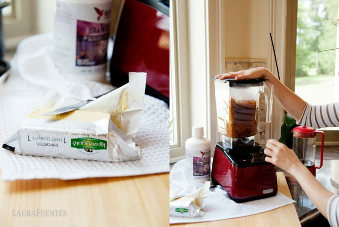 image: grass fed butter next to a blender with coffee and MCT oil blending together