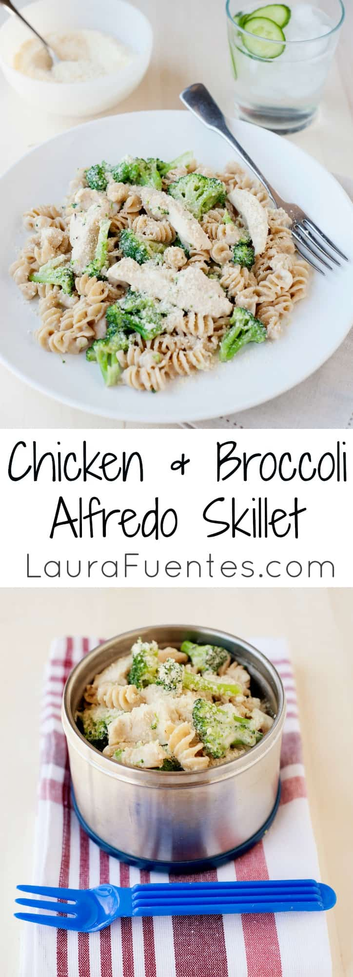 Easy chicken and broccoli alfredo skillet meal from the fridge to the table in less than 30 minutes that your family will love.